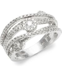 Effy - Diamond & 14k White Gold Solid Fill Statement Ring - Lyst