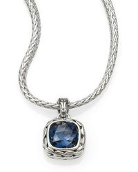 John Hardy - Classic Chain Sterling Silver Small Square Pendant Necklace - Lyst