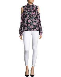 Saks Fifth Avenue - Silk Floral Cold-shoulder Tie-neck Blouse - Lyst