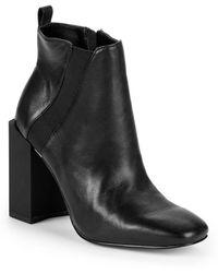 Halston - Peregrun Block Heel Leather Booties - Lyst