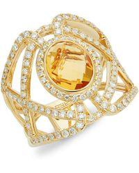 Effy - 14k Yellow Gold, Citrine & Diamond Ring - Lyst