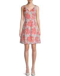 Donna Ricco - Brocade V-neck Fit-&-flare Dress - Lyst