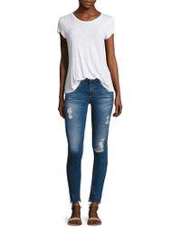 AG Jeans - Distressed Step Hem Legging Ankle Jeans - Lyst