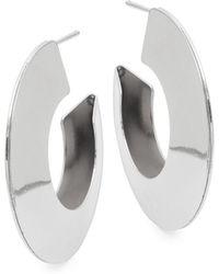Kenneth Jay Lane - Silvertone Half Hoop Earrings - Lyst