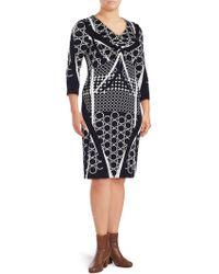 Basler - Plus Printed V-neck Sheath Dress - Lyst