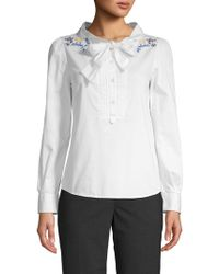 Love Moschino - Embroidered Quarter-zip Top - Lyst