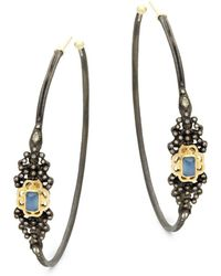 Armenta - Champagne Diamond & Gemstone Hoop Earrings - Lyst