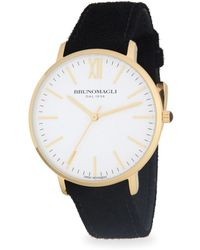 Bruno Magli - Stainless Steel And Gold Ion Plated Slim Leather-strap Watch - Lyst