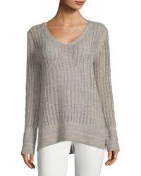 INHABIT - V-neck Pointelle Sweater - Lyst