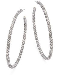 Adriana Orsini - Jumbo Micropave Silvertone Hoop Earrings - Lyst