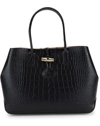 Longchamp - Roseau Croc-embossed Leather Tote - Lyst