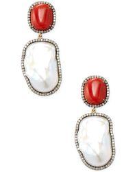 Arthur Marder Fine Jewelry - Silver, Pearl & Champagne Diamond Drop Earrings - Lyst