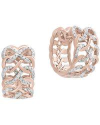 Effy - Diamond And 14k Rose Gold Huggies Earrings, 0.48 Tcw - Lyst