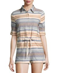 Solid & Striped | Striped Short-sleeve Jumpsuit | Lyst