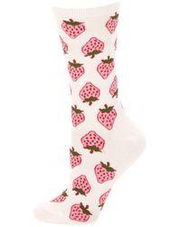 Kate Spade - Strawberry-print Crew Socks - Lyst