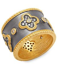 Freida Rothman - Classic Cz & 14k Gold-plated Clover Cigar Ring - Lyst
