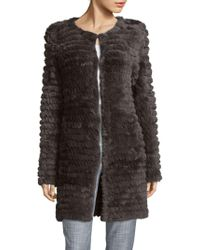 Adrienne Landau - Knitted Rabbit Fur Coat - Lyst