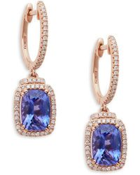 Effy - 14k Rose Gold Tanzanite & Diamond Hoop Drop Earrings - Lyst