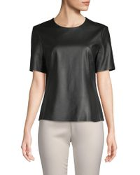 Adam Lippes - Short-sleeve Leather Top - Lyst