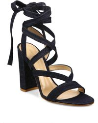 Gianvito Rossi - Denim Lace-up Gladiator Sandals - Lyst