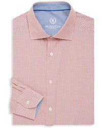Bugatchi - Shaped-fit Micro Check Cotton Dress Shirt - Lyst