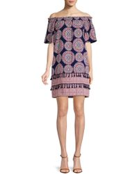 Maggy London - Printed Off-the-shoulder Dress - Lyst