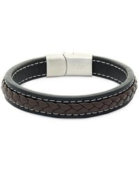 Saks Fifth Avenue - Stainless Steel And Leather Bracelet - Lyst
