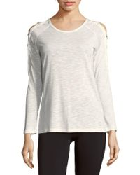 Balance Collection - Roundneck Cold-shoulder Tee - Lyst