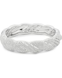 Adriana Orsini - Pavé Crystals Scalloped Bangle Bracelet - Lyst