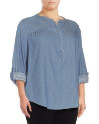 NYDJ - Plus Tessa Long-sleeve Cotton Top - Lyst