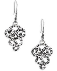 John Hardy - Sterling Silver Braided Drop Earrings - Lyst