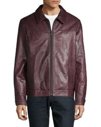 DKNY - Embossed Leather Jacket - Lyst