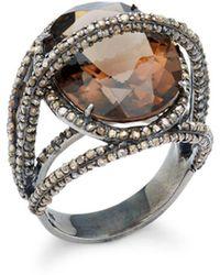 Bavna - Champagne Diamond, Smokey Quartz & Sterling Silver Ring - Lyst