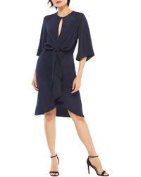 Saks Fifth Avenue Black - Cascade Tie-front Dress - Lyst