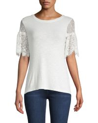 Nanette Nanette Lepore - Lace-accented Short-sleeve Top - Lyst