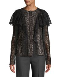 Lanvin - Haut Perforated Ruffled Top - Lyst