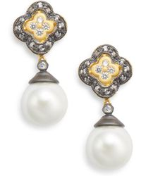 Freida Rothman - 11mm White Round Pearl Flower Drop Earrings - Lyst
