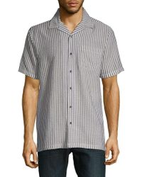 Saks Fifth Avenue - Stripe Short-sleeve Camp Button-down Shirt - Lyst