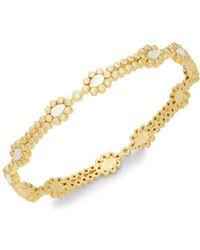 Freida Rothman - Crystal, Mother-of-pearl & Sterling Silver Sliced Bangle Bracelet - Lyst