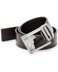 Versace - Medusa Logo Buckle Leather Belt - Lyst