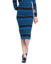 Plenty by Tracy Reese - Variated Stripe Knit Skinny Knee-length Skirt - Lyst