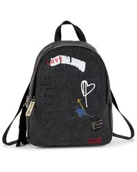 Peace Love World - Small Printed Canvas Backpack - Lyst