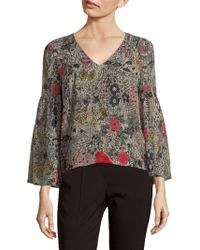 Plenty by Tracy Reese - Floral Flounce-sleeve Top - Lyst