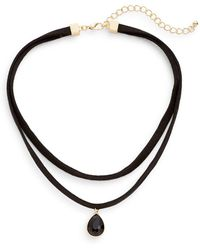 Cara Layered Suede Choker Necklace