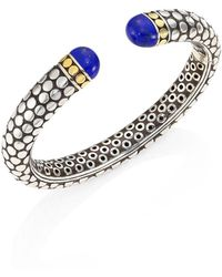 John Hardy - Batu Dot Lapis Lazuli, 18k Yellow Gold & Sterling Silver Medium Kick Cuff Bracelet - Lyst