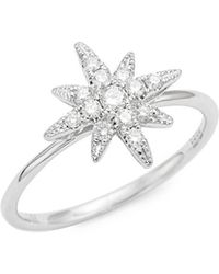 Effy - 14k White Gold And Diamond Starburst Ring - Lyst