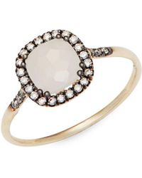 Suzanne Kalan - White Moonstone, Champagne Diamonds And 14k Yellow Gold Ring - Lyst