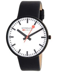 Mondaine Stainless Steel & Leather Strap Watch