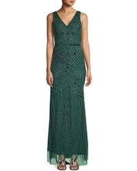 Adrianna Papell - Beaded Deep V-back Gown - Lyst