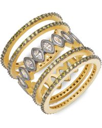 Freida Rothman - Contemporary Deco Cubic Zirconia And Sterling Silver Five Stack Geo Stone Rings - Lyst